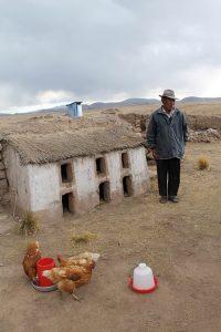 Alter Peruaner vor Hühnerstall aus Lehm, mit Strohdach, in den peruanischen Anden